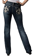 Grace in LA® Women's Large White Leather & Embroidered Fleur de Lis Flap Pocket Boot Cut Jean