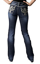Grace in LA® Women's Winged Cross and Crystals Flap Pocket Boot Cut Jean
