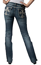 Grace in LA® Women's White Embroidered Floral Cross with Crystals Flap Pocket Boot Cut Jean