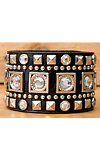 Wear N.E. Wear® Black Leather w/ Pyramid Studs &  Crystals Snap Bracelet