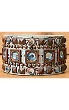 Wear N.E. Wear® Metallic Turquoise Leather w/ Pyramid Studs & Crystals Snap Bracelet