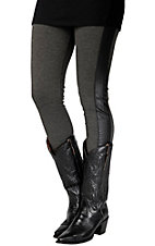 Karlie Women's Grey with Black Faux Leather Trim Legging