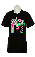 Cattilac Style® Ladies Triple Cross Black Short Sleeve Tee