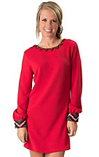 Karlie® Women's Red with Beaded Neckline and Cuffs Long Sleeve Dress