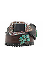 Katydid® Women's Brown & Black w/ Turquoise Flowers Wide Waist Belt