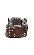 Katydid® Women's Brown Cowhide w/ Crosses Wide Waist Belt
