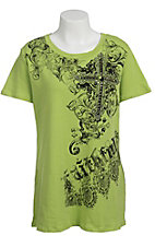 Katydid Collection Women's Lime Green Embellished Filigree Cross Short Sleeve Tee