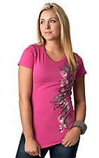 Katydid Collection Women's Hot Pink Embellished Floral Crosses Short Sleeve Tee