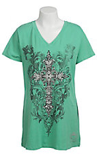 Katydid Collection Women's Mint Embellished Cross with Rhinestones Short Sleeve Tee
