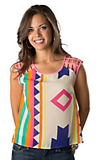 Karlie® Women's Bright Aztec with Pink Basket Sleeves Hi-Lo Fashion Tank Top