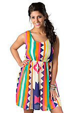 Karlie® Women's Multi-Colored Bold Aztec Print Sleeveless Dress