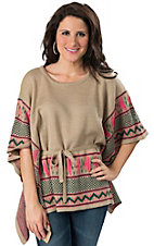 Karlie® Women's Tan Sweater with Tie Waist Poncho Short Sleeve Fashion Top