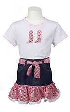 Kiddie Korral 2 Piece Pink Sequin Tee and Skirt Outfit