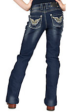 Wired Heart® Girl's Embroidered Butterlfy with Crystals Open Pocket Boot Cut Jeans