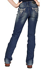 Wired Heart® Girl's Scrolled Embroidery with Crystals Open Pocket Boot Cut Jeans