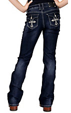 Wired Heart® Girl's Embroidered Cross with Crystals Flap Pocket Boot Cut Jeans