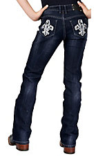Wired Heart® Girl's Leather Fleur de Lis with Crystals Open Pocket Boot Cut Jeans