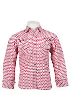 Rodeo Girl® Girl's White w/ Pink Polka Dot Print Long Sleeve Western Shirt