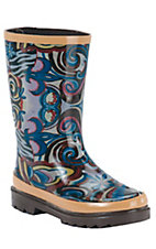 Beehive® Rain Bops™ Girls Brown with Multi Colored Art Fusion Rain Boots