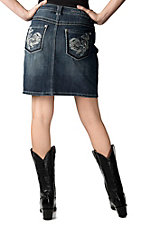 Zenim Denim® Women's Medium Stonewash with Thick Stitching and Crystals Open Pocket Skirt