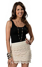Lovetree® Women's Cream Lace Ruffle Skirt