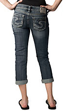 Silver Jeans® Women's Denim Twisted Low Rise Curvy Fit Cuffed Capri Jeans
