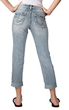 Silver Jeans® Women's Denim Sam Boyfriend Mid Rise Straight Fit Cuffed Capri Jeans