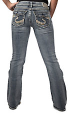 Silver Jeans® Women's Medium Wash Suki Flap Pocket Mid Rise Relaxed Curvy Fit Bootcut Jeans