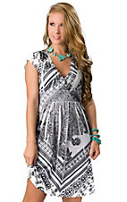 Panhandle Slim® Women's White and Black Sublimation with Rhinestones Short Sleeve Dress
