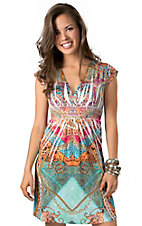 Panhandle Slim® Women's Pink, Turquoise, and Orange Sublimation with Rhinestones Short Sleeve Dress