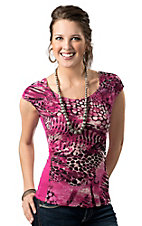 Panhandle Slim® Women's Pink and White Lace Animal Print Front Short Sleeve Fashion Top