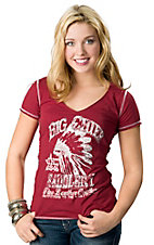 Panhandle Slim® Women's Red Big Chief Saddlery with Whip Stitching Short Sleeve Tee