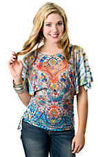 Panhandle Slim® Ladies Teal, Orange and Yellow Paisley Sublimation Print Kimono Sleeve Fashion Top