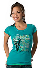 Panhandle Slim® Women's Turquoise with Lime Vintage Dream Catcher Short Sleeve Tee