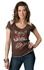 Panhandle Slim® Women's Brown with Cream and Red Cross Roads Roadhouse Short Sleeve Tee