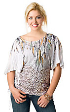 Panhandle Slim® Ladies White, Gold and Green Leopard and Feathers Print Kimono Sleeve Fashion Top