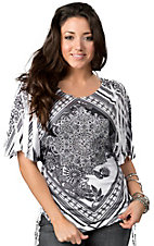 Panhandle Slim® Ladies Black and White Diamond Sublimation Print Kimono Sleeve Fashion Top