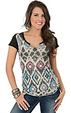 Panhandle Slim Women's Multicolor Sedona Ikat Split Neck Short Sleeve Tee