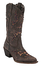 Laredo Aphfrika Ladies Black/Brown Crackle w/ Leopard Inlay Snip Toe Western Boots