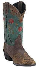 Laredo Women's Destroyed Brown w/Turquoise Top Inlayed Snip Toe Western boots