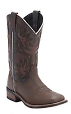Laredo Women's Dark Brown w/Sanded Red Top COwboy Approved Square Toe Western Boots