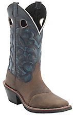 Laredo Men's Distressed Tan w/Blue Denim Top Saddle Vamp Square Toe Western Boots