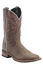Laredo Men's Brown w/ Sanded Red Top Double Welt Broad Square Toe Western Boots