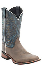 Dan Post Men's Distressed Brown w/ Sanded Denim Top Double Welt Broad Square Toe Western Boots