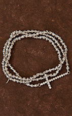 Silver Side Cross Beaded Bracelet Set LB1505