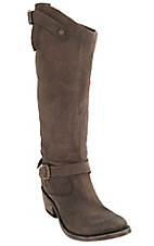 Liberty Black Women's Toccato Chocolate Distressed Buckle Harness Round Toe Western Fashion Boots