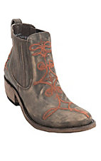 Liberty Black Women's Vintage Brown Canela w/Orange Fancy Stitch Round Toe Western Fashion Boots