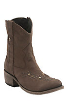 Liberty Black Women's Distressed Brown Teccato with Studs Round Toe Western Fashion Boots