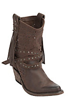 Liberty Black� Women's Distressed Brown Vegas T-Moro Stud Wrapped Harness Snip Toe Western Fashion Boots