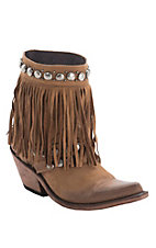 Liberty Black Ladies Nubuck Gris Tan w/Studs & Fringe Snip Toe Western Fashion Boots